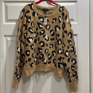 NWT Express Eyelash Leopard Oversized Sweater XL